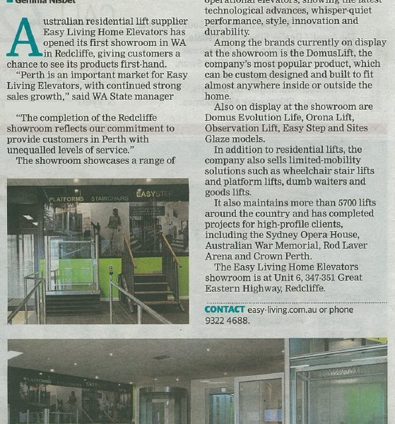 Easy-Living-Home-Elevators-Lifts-its-Perth-profile-in-Western-Australian-newspaper