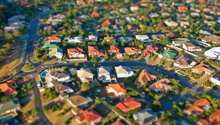 Birds-eye view of Australian homes.