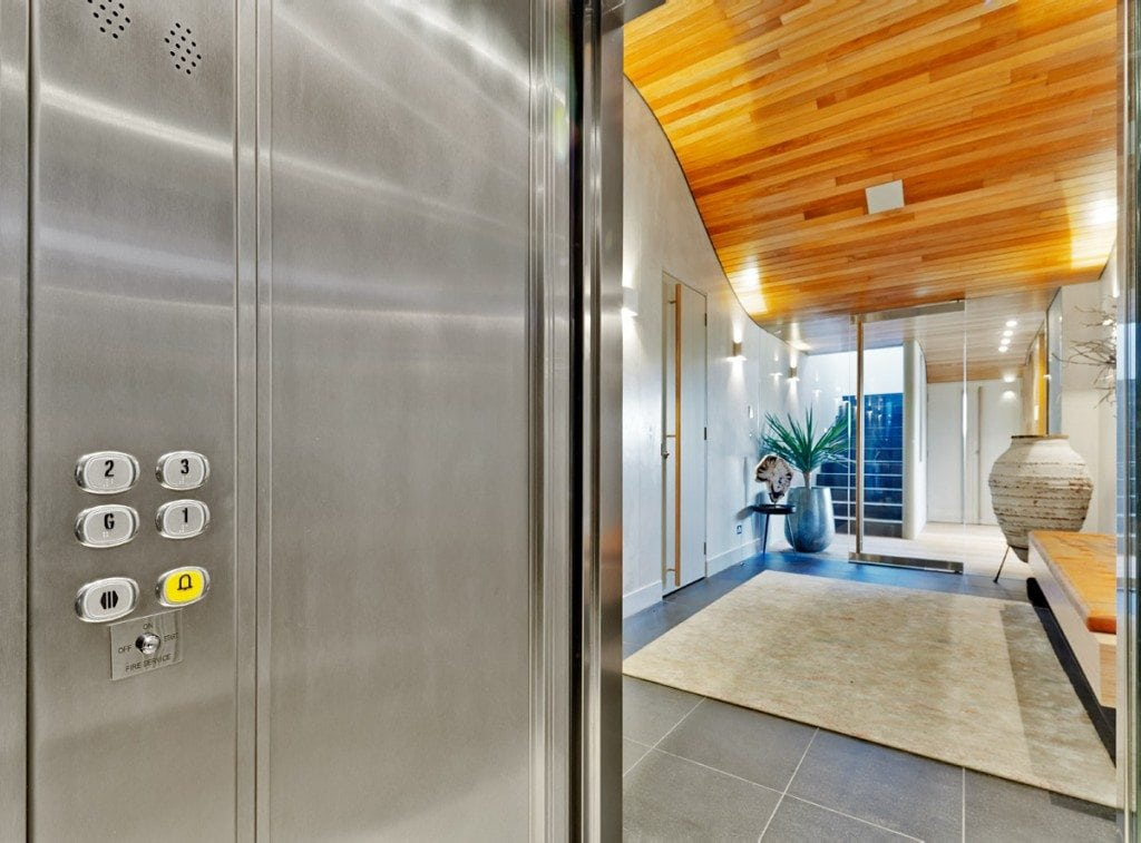 Interior of a home elevator